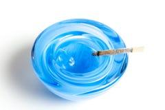Elegant blue ashtray Royalty Free Stock Image