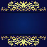 Elegant blue Background with floral golden Borders. Royalty Free Stock Image