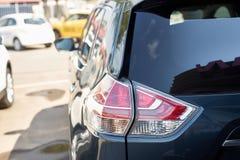 Elegant blue car headlight outdoors Royalty Free Stock Photography