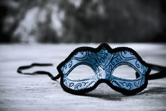 Elegant blue carnival mask Stock Photos