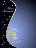 Elegant blue Christmas background. Christmas background (blue and gold), great for placing text on the right part of the graphic Royalty Free Stock Image