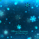 Elegant blue Christmas background with snowflakes Royalty Free Stock Photography