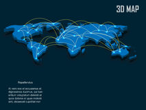 Elegant blue 3d vector World Map Royalty Free Stock Photography