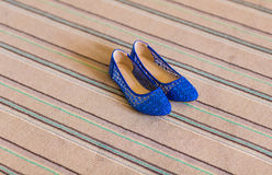 Elegant blue flat shoes for women. In stones Stock Photos