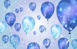 Elegant Blue Flying helium Balloons with Bokeh Effect and glitter. Wedding, Birthday and Anniversary Background. Vector. Illustration for invitation card, party stock illustration