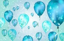 Elegant Blue Flying helium Balloons with Bokeh Effect and glitter. Wedding, Birthday and Anniversary Background. Vector. Illustration for invitation card, party vector illustration