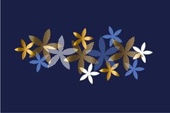 Elegant blue and gold floral element Royalty Free Stock Photo