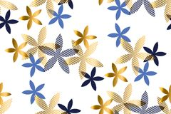 Elegant blue and gold floral seamless pattern.= Stock Photo