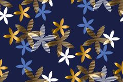 Elegant blue and gold floral seamless pattern.= Royalty Free Stock Photos