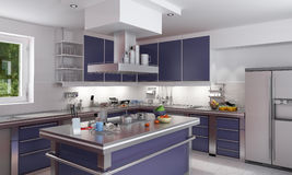 Elegant blue kitchen Stock Images