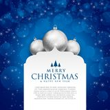 Elegant blue merry christmas design with silver balls. Vector Stock Photo