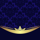 Elegant blue ornamental Background with golden Border Stock Photo