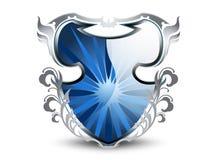 Elegant blue shield Stock Images