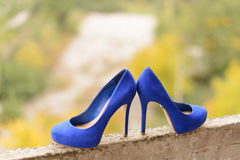 Elegant Blue Shoes Royalty Free Stock Photography