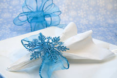 Elegant Blue Snowflake Holders Stock Images