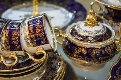 Elegant blue tea set. Cups Royalty Free Stock Photography