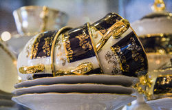 Elegant blue tea set Royalty Free Stock Image