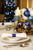 Elegant blue and white Christmas table Royalty Free Stock Image