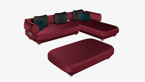 Elegant, Bordeaux Red leather sofa. Isolated on white. 3d rendering vector illustration