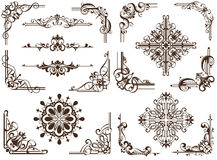 Elegant borders and corners. Vector set of vintage elements for decor and design. Beautiful corners, frames and borders in the old style of art nouveau Royalty Free Stock Photo