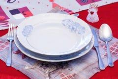 Elegant bordsservis för jul Arkivfoton