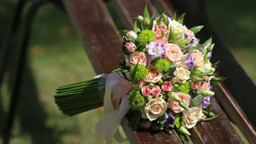 Elegant bouquet on a wooden floor Stock Photography