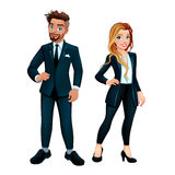 Elegant boy and girl. Vector cartoon characters royalty free illustration
