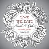 Elegant bröllopinbjudan för tappning med grafiska rosor stock illustrationer