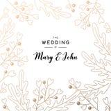 Elegant bröllopinbjudanbakgrund med stället för text Kortdesign med den blom- modellen Arkivfoton