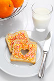 Elegant breakfast made of bread, candies Royalty Free Stock Photos