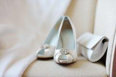 Elegant bridal shoes. And a handbag Royalty Free Stock Image