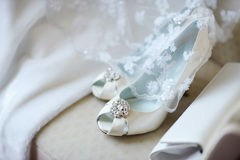 Elegant bridal shoes Royalty Free Stock Image