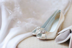 Elegant bridal shoes Stock Image