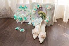 Elegant bridal shoes Stock Photo