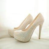 Elegant bridal white shoes with rhinestones Stock Photography
