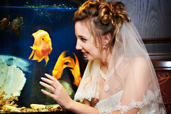 Elegant bride about the aquarium Stock Images