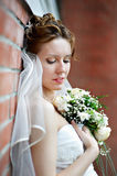 Elegant bride of brick wall at wedding walk Royalty Free Stock Photos