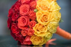 Elegant bride flowers with red, yellow and orange Royalty Free Stock Photography