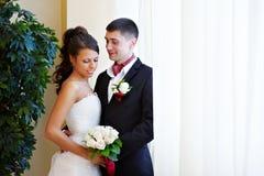 Elegant bride and groom stock images