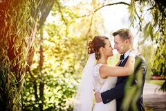 Elegant bride and groom posing together outdoors on a wedding day stock photography