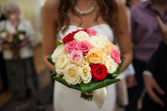 elegant bride holding a bouquet Royalty Free Stock Photography
