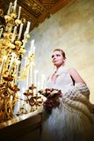 Elegant bride in interior of hotel Royalty Free Stock Image