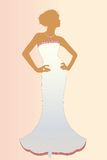 Elegant bride isolated. Diamond on hand with necklace and detailing on dress Royalty Free Stock Photo