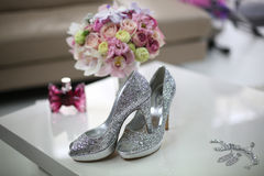 Elegant bride's shoes with glitter Royalty Free Stock Photo