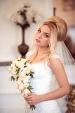 Elegant bride in wedding day Royalty Free Stock Image