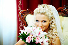 Elegant bride in wedding palace Stock Photo
