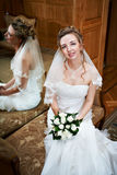 Elegant bride in wedding palace Royalty Free Stock Photos