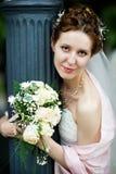 Elegant bride at wedding walk royalty free stock photography