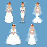 Elegant Brides in Wedding dresses in Different modern styles. Stock Photo