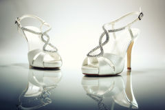 Elegant Brides white shoes Royalty Free Stock Image